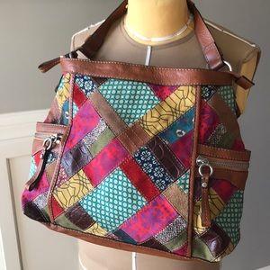 Vintage Fossil Patchwork Leather Bag, NWOT